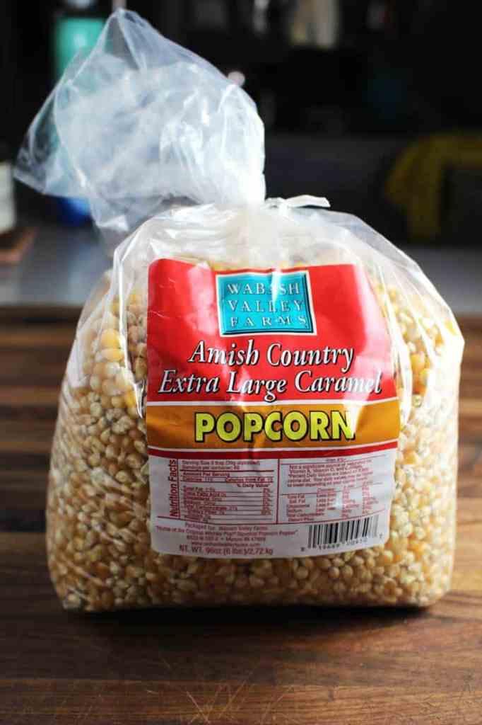 A bag of popcorn kernels for making homemade caramel corn