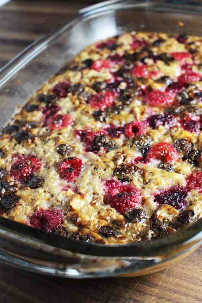 Raspberry dark chocolate baked oatmeal in a baking dish