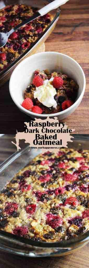 Raspberry Dark Chocolate Baked Oatmeal