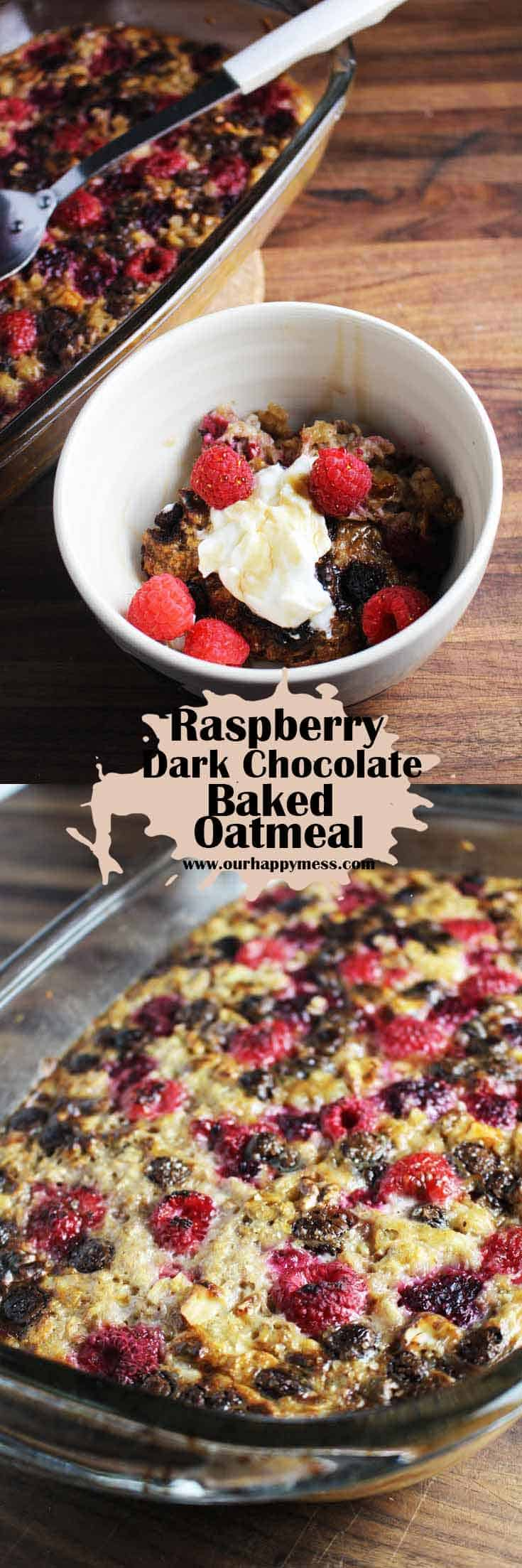This raspberry dark chocolate baked oatmeal is a super easy, hearty, make-ahead breakfast that feels just a little indulgent. You can make it on a Sunday and eat it all week. #bakedoatmeal #breakfast #oatmealrecipe