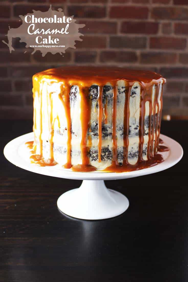 This chocolate caramel cake is amazingly moist and features the most delicious coconut-flavored caramel frosting. It's easy to make and spectacular to look at. #caramelchocolatecake #birthdaycake #caramelsauce