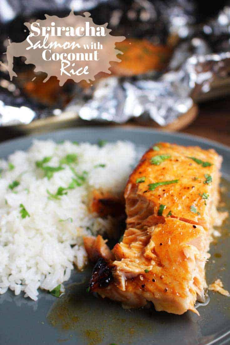 This Sriracha Salmon with honey lime butter, which I serve with fool-proof baked coconut rice is a super quick, easy, and healthy weeknight meal. #sriracharecipes #salmonrecipes