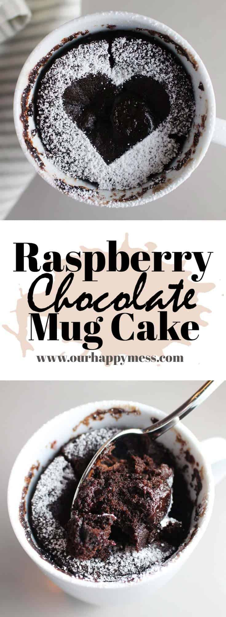 This chocolate raspberry mug cake takes about 5 minutes to make, start to finish. It is rich, dark, moist and perfect for satisfying a sudden chocolate craving. #easyrecipes #cake #chocolatecake