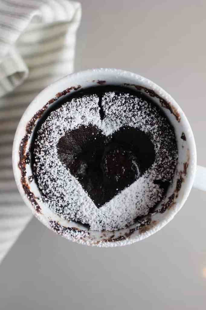 Chocolate Raspberry mug cake decorated with a heart
