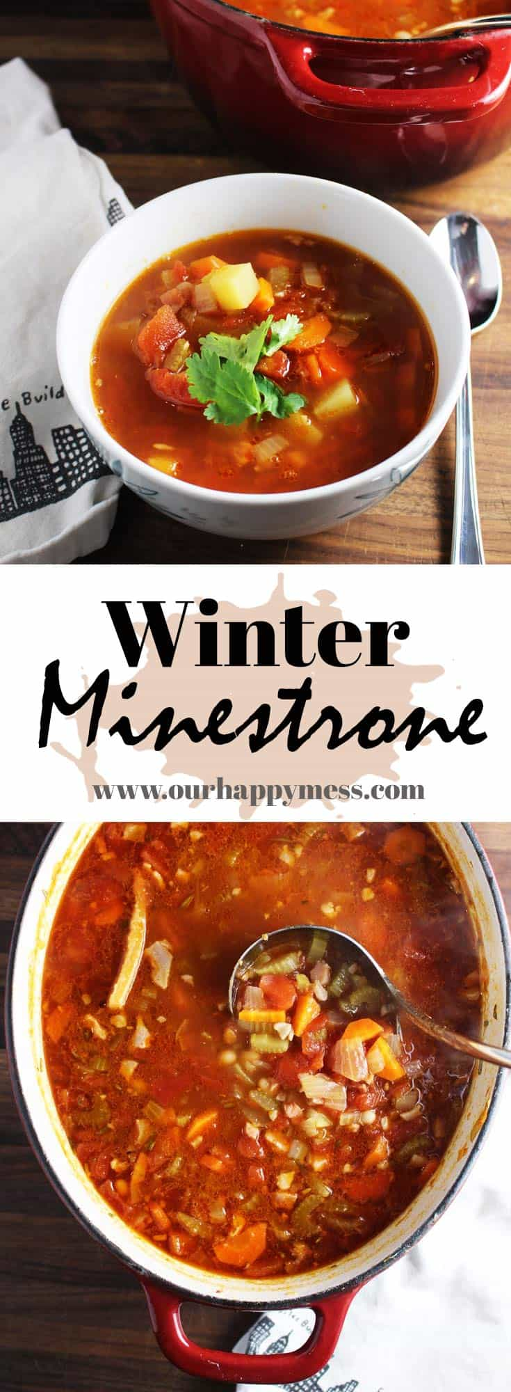 This minestrone soup recipe is chock full of chunky veggies, beans, and pancetta. Simmering with a parmesan rind gives it rich, salty flavor. Serve this winter minestrone with some garlic bread, and you have a simple, delicious, healthy and satisfying meal. #soup #souprecipes #minestronesoup