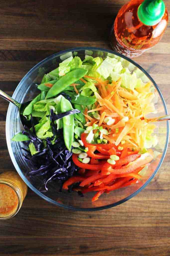 Chopped veggies for Asian chicken salad in a bowl, arranged in a rainbow