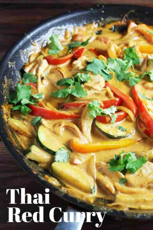 Thai red curry is easy to make, and even easier to love! Chicken and veggies are quickly sauteed and then cooked in a creamy coconut milk and red curry sauce. Served over rice, it's filling, comforting and delicious. #Thaifood, #chicken, #chickenrecipes