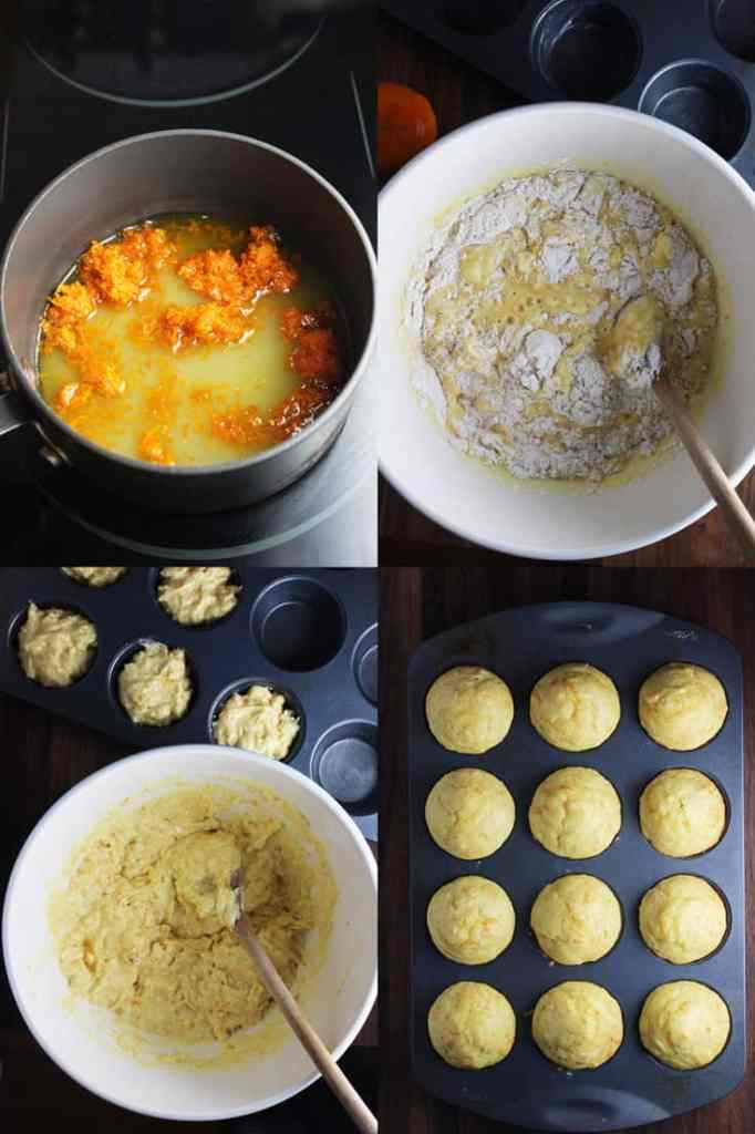 Collage of process shots for making mandarin orange muffins