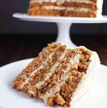 Slice of moist carrot cake on a plate