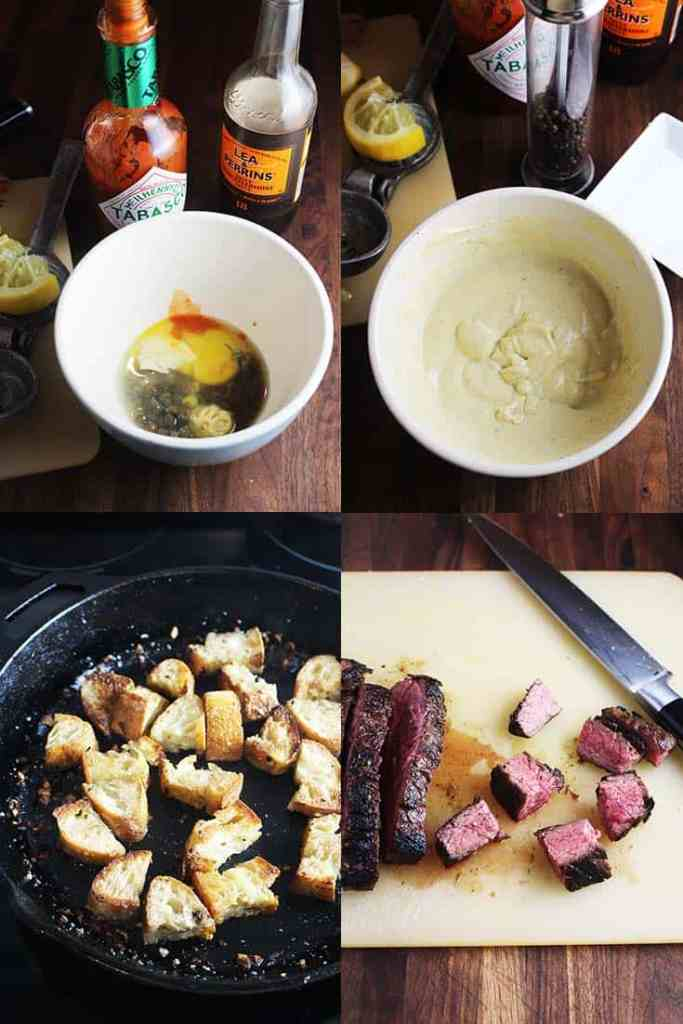 Process shots of making caesar salad recipe with steak