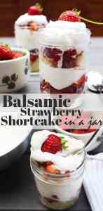 Easy strawberry shortcakes in pint-size mason jars on a table outdoors