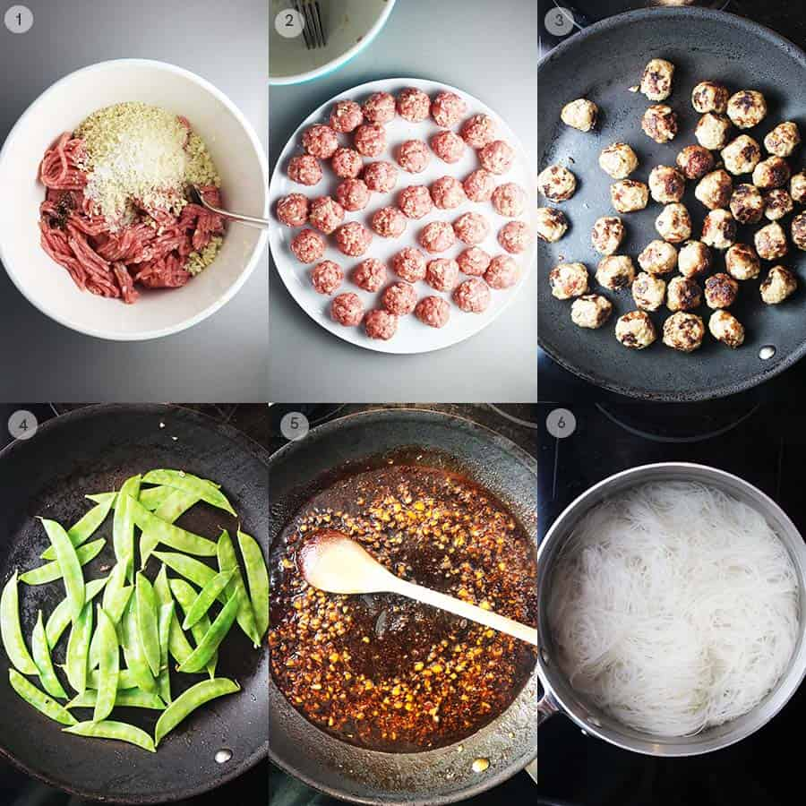 Process shots for making Asian meatballs with sriracha and honey