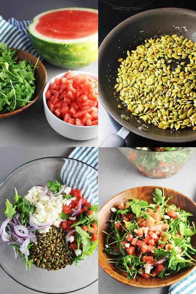Process shots for making a watermelon arugula salad