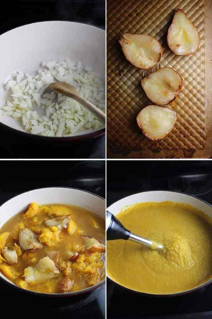 Four process shots for making roasted pumpkin soup in a dutch oven