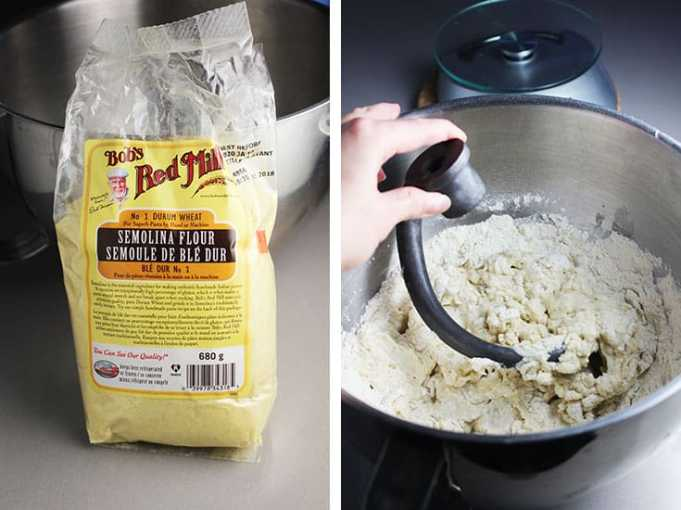 A bag of semolina and ingredients for pizza dough in a mixing bowl with dough hook