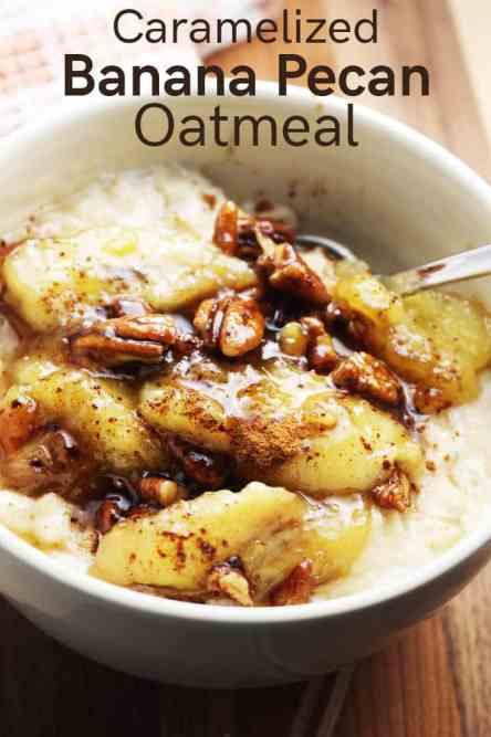Closeup of a bowl of caramelized banana oatmeal