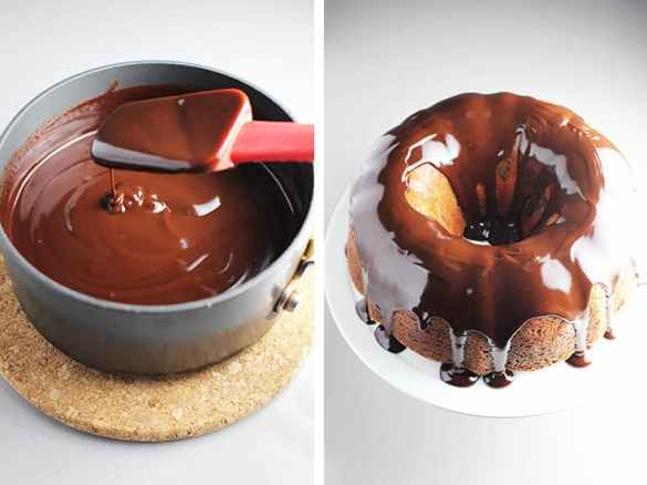 Chocolate glaze in a small saucepan and poured over a cherry chocolate cake