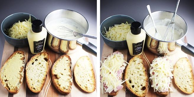 Assembly of a croque monsieur. Dijon spread on two slices of bread, and the same two sliced covered with bechamel, ham and cheese