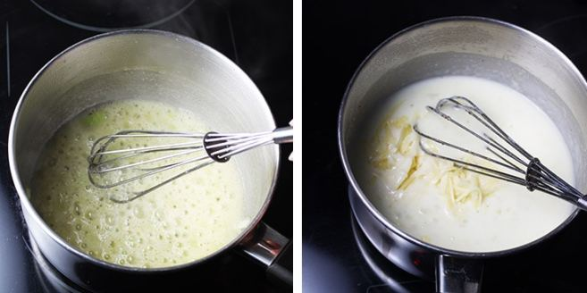 onion being sauteed in butter in a saucepan for bechamel sauce, and a second photo of cheese being added to cooked bechamel.