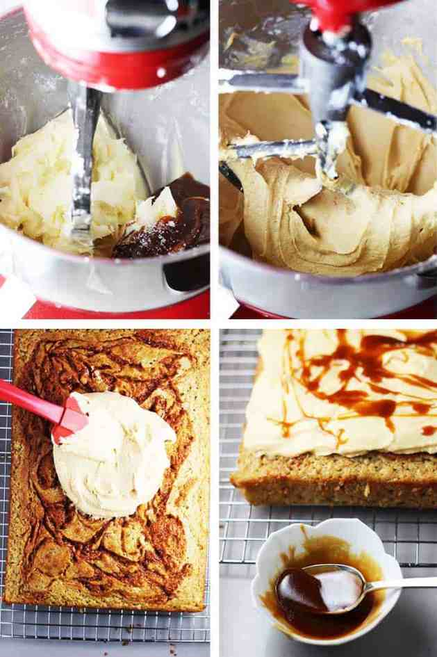 Caramel frosting in a stand mixer and being spread on a banana cake