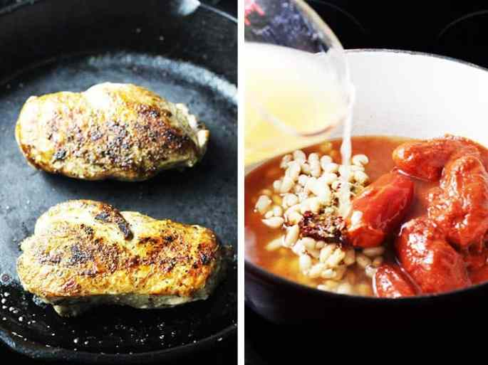 Two chicken breasts cooking in a cast iron pan, and ingredients for chicken tortilla soup in a dutch oven