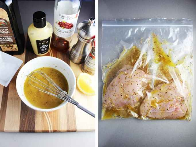 marinade/dressing for Greek chicken salad whisked together in a bowl, and poured into a plastic ziploc bag with two chicken breasts