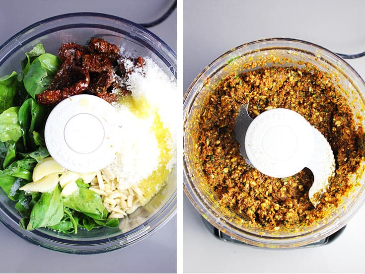Ingredients for sun dried tomato pesto in a food processor, before and after processing