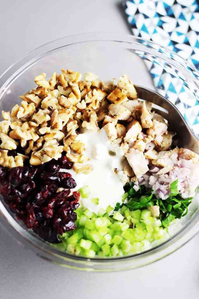 Ingredients for cranberry walnut chicken salad in a large bowl, ready to be mixed