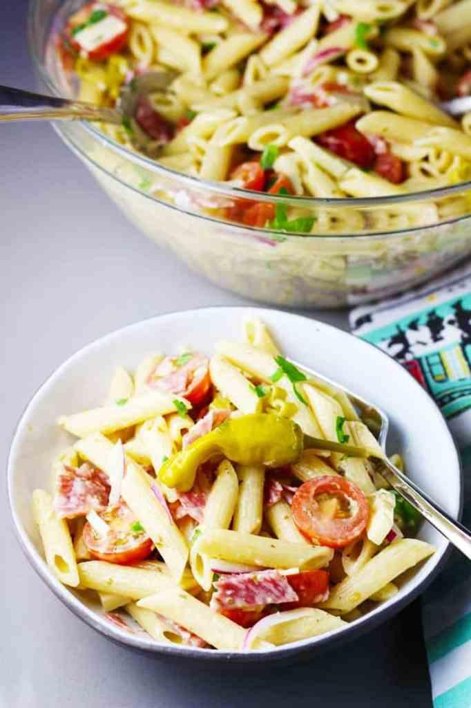 Italian pasta salad in a bowl