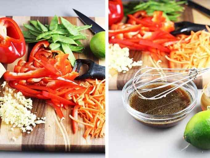 stir fry vegetables sliced on a cutting board