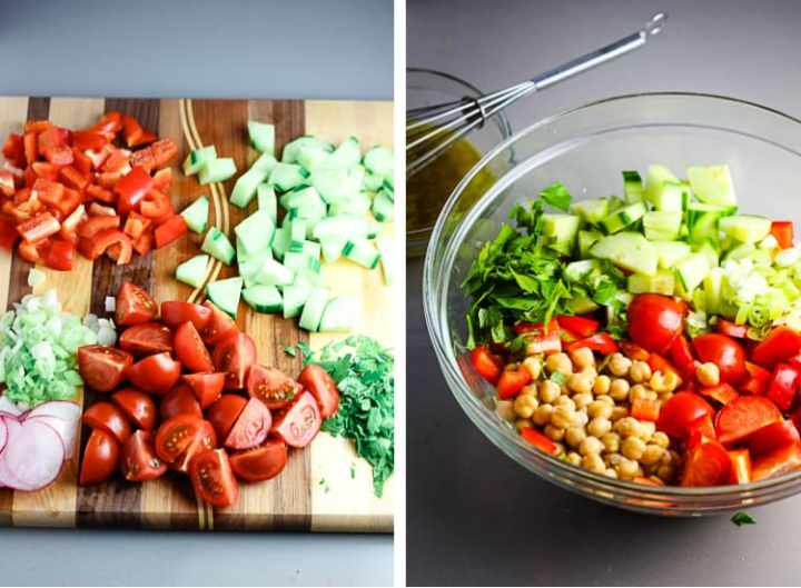 chopped tomato red pepper, cucumber and parsley on a wooden cutting board. Next to it, same ingredients in a glass bowl with chickpeas.