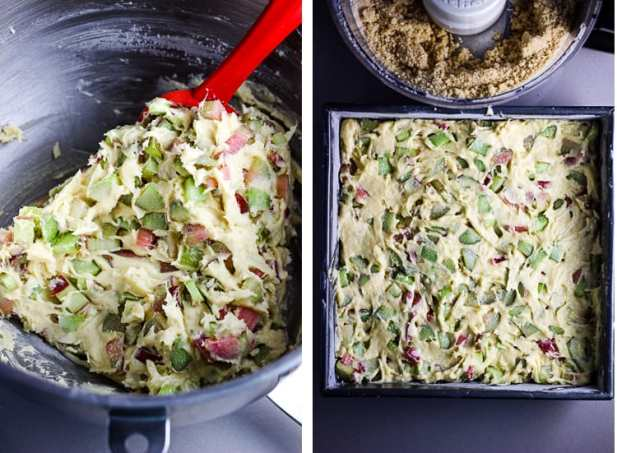 Raw rhubarb being folded into coffee cake batter, and batter being spread into a baking pan