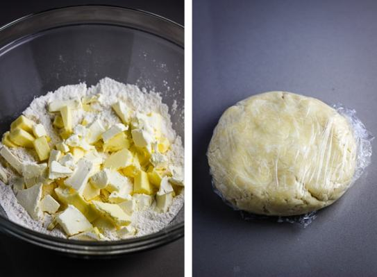 Ingredients for all butter pie dough in a mixing bowl, and next to it pie dough formed into a disc and wrapped in plastic wrap