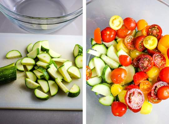 sliced zucchini on a cutting board, next to that halved cherry tomatoes and and sliced zucchini in a glass bowl