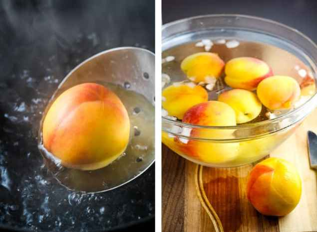 A peach in boiling water to remove the skin and next to that, peaches in an ice bath ready to be peeled