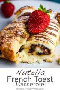 closeup of nutella french toast casserole serving on a plate
