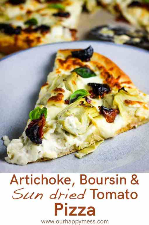 A slice of artichoke pizza on a plate