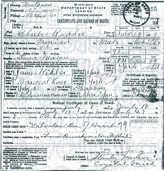 Charles Kidder's death certificate