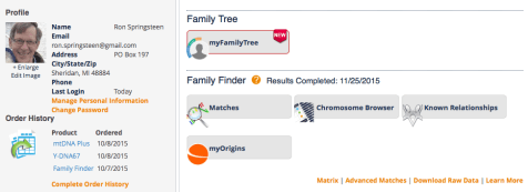 Family Tree DNA dashboard