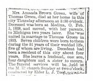 Obituary, Amanda Green, 1906