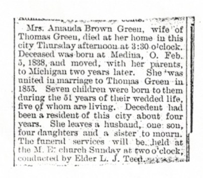 Obituary, Amanda Green, 1906