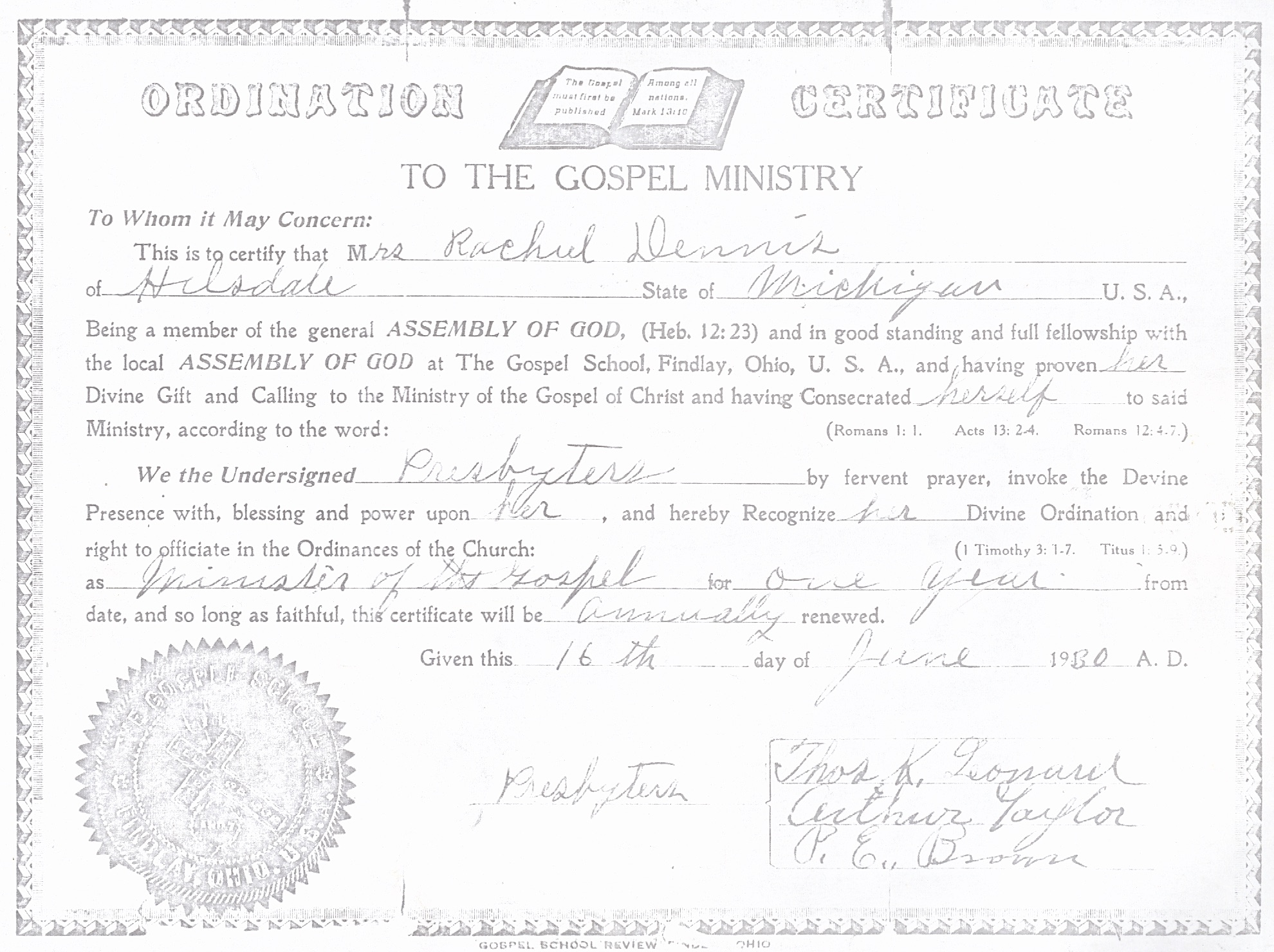 March 2016 our heritage ordination certificate rachel dennis 1betcityfo Image collections