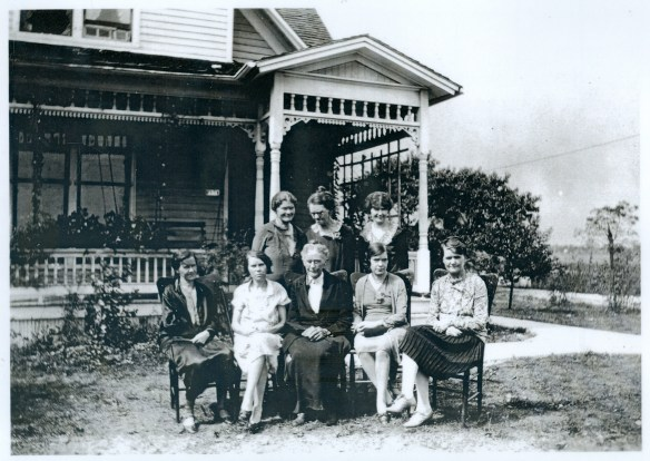 Rachel Dennis and her daughters—Back row: Hannah Blackford, Amy Bailey, Idell Fisher; Front tow: Lottie Moyer, Grace Abell, Rachel Dennis, Anna Dennis, Clara Schoonover