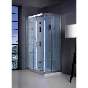 Cabina doccia rettangolare 70x90 porte scorrevoli White SPAce Vapor