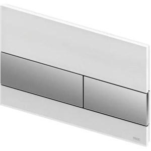 Placca di comando in vetro per WC, con doppio pulsante