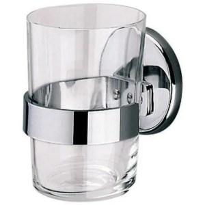 Portabicchiere a parete con bicchiere in vetro Inda Hotellerie