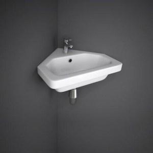 RAK-RESORT Lavamani ad Angolo rettangolare 45x40 bianco con troppopieno