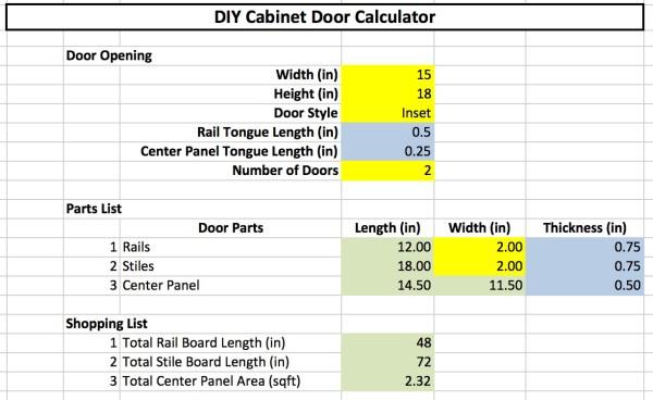 Cabinet Material Calculator