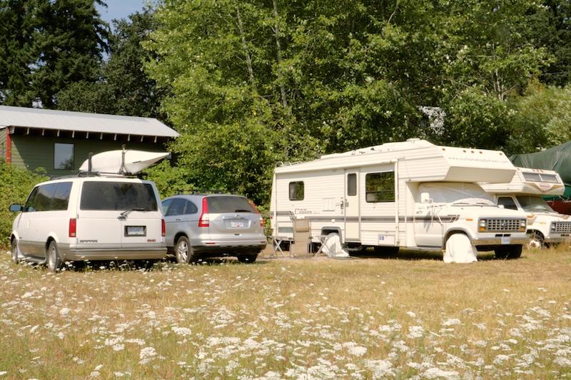 Camping in a field in Victoria