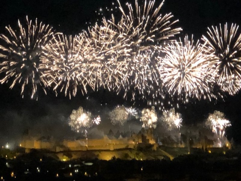 Bastille Day Fireworks of Carcassonne's medieval walled city